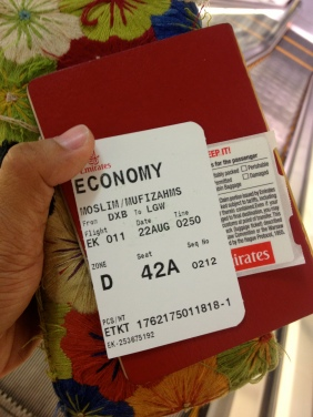 Dubai to Gatwick ticket in hand! (Gone are the days when I fly Business Class on Emirates though, hahaha)